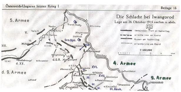 Położenie wojsk 26 października 1914 r. pod Dęblinem z naniesionymi na plan mostami pod Pawłowicami i Skurczą.
